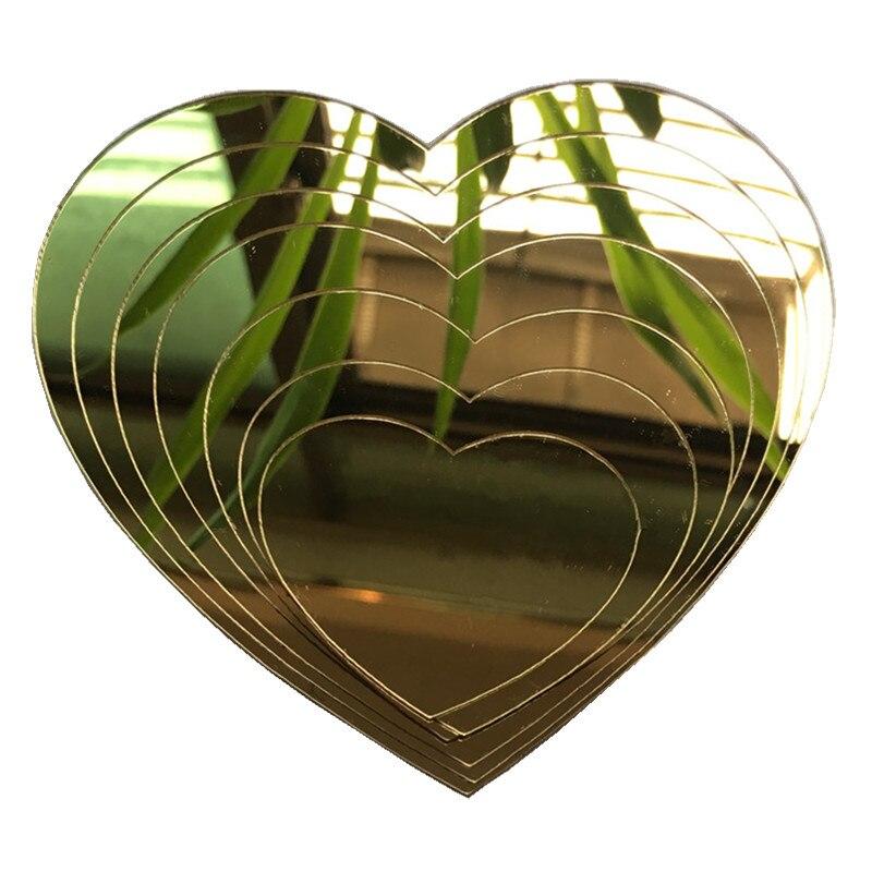 7 unids/set de pegatinas de acrílico para espejo de pared forma de corazón de decoración Vivo hogar sala de niños decoración de la habitación del baño DIY resplandor en la estrella oscura