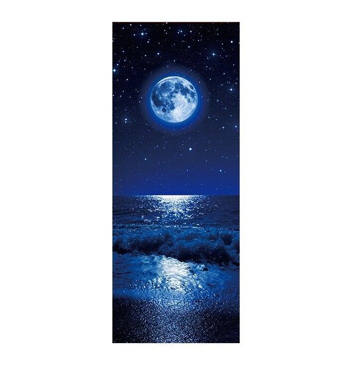 Etiqueta engomada de la escena de la noche del Mar de la tierra pegatina de la decoración del arte de la puerta del vinilo del cartel del Mural extraíble