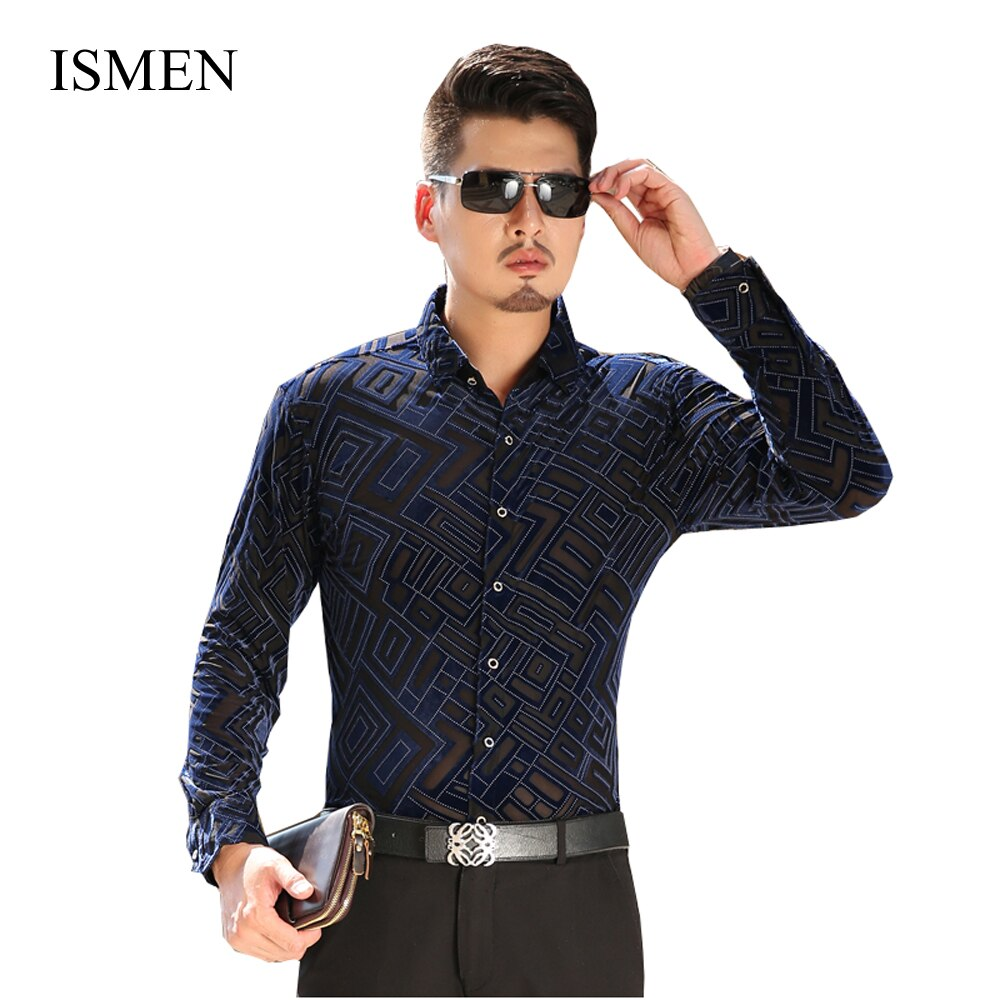 KUYOMENS hombres camisas de manga larga vestido de terciopelo Camisa Casual Hombre hueco Camisa Masculina Camisa forzosamente Homme