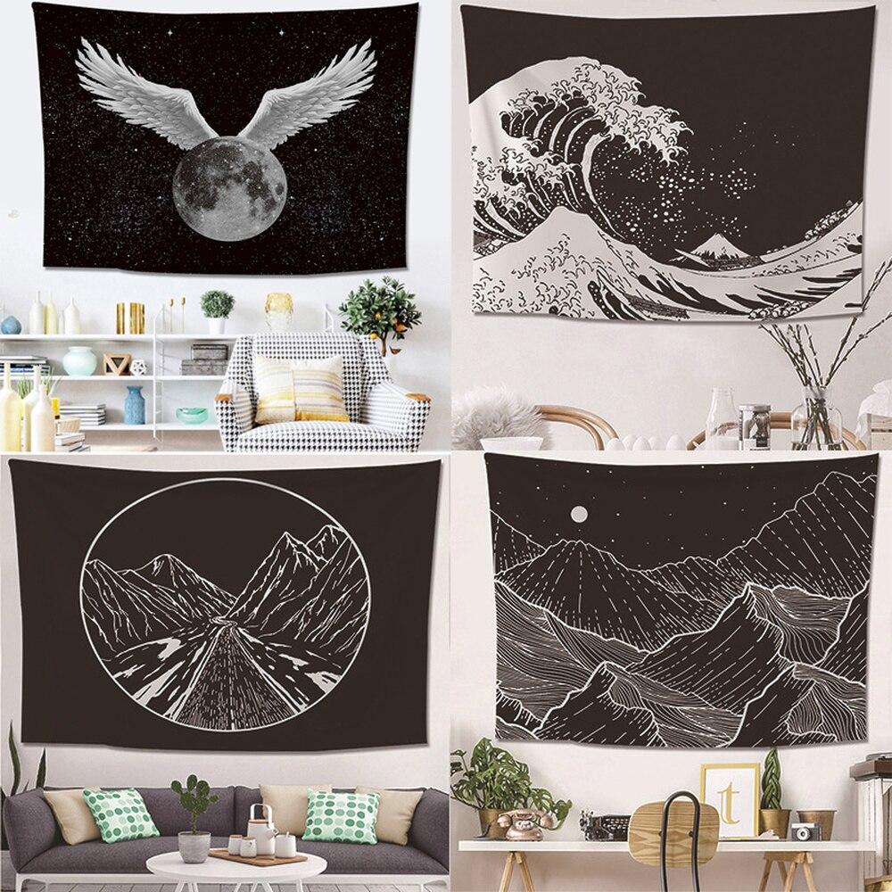 Nórdico preto branco montanha impresso tapeçaria simplicidade criativo quarto pendurado na parede mesa pano tapete de yoga decoração para casa