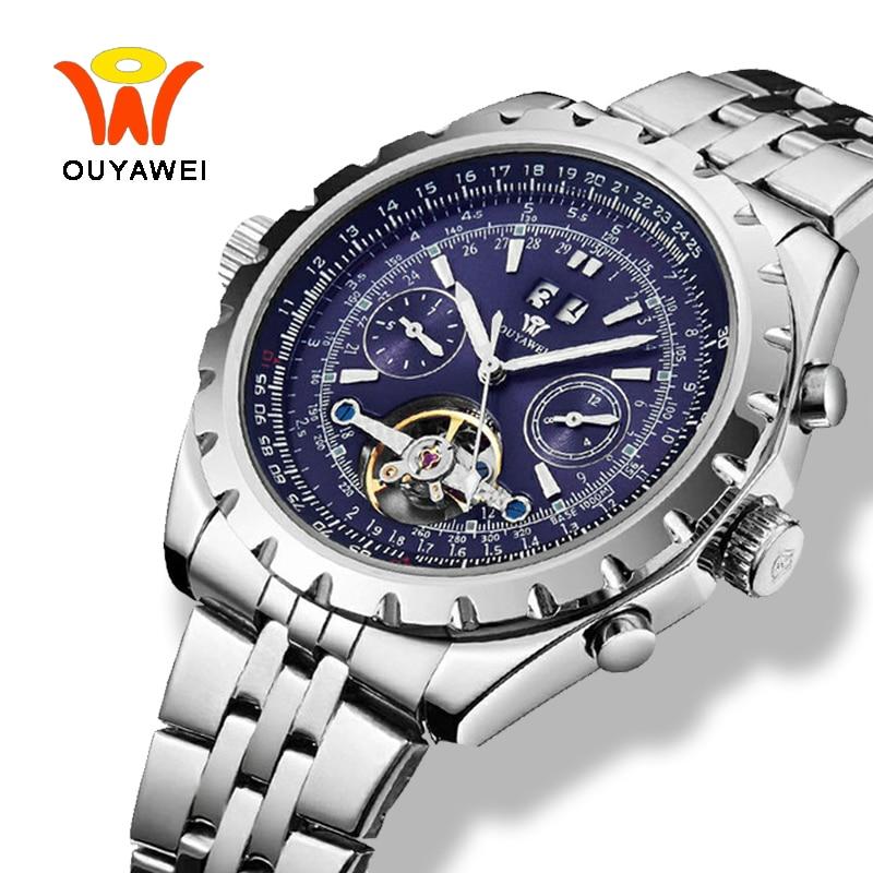 Ouyawei Tourbillon relojes mecánicos hombres militar luminoso Auto fecha gran automático Auto viento plata 50mm caja reloj hombres reloj