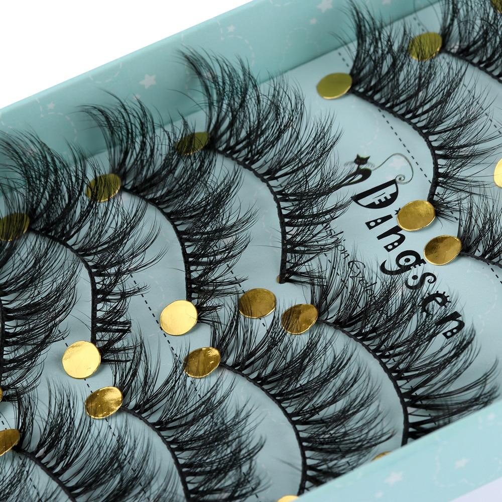 10 par/set de pestañas postizas suaves de imitación de visón hechas a mano 3D entrecruzadas Wispy pestañas tupidas extensión utensilios de maquillaje para ojos #3D-71