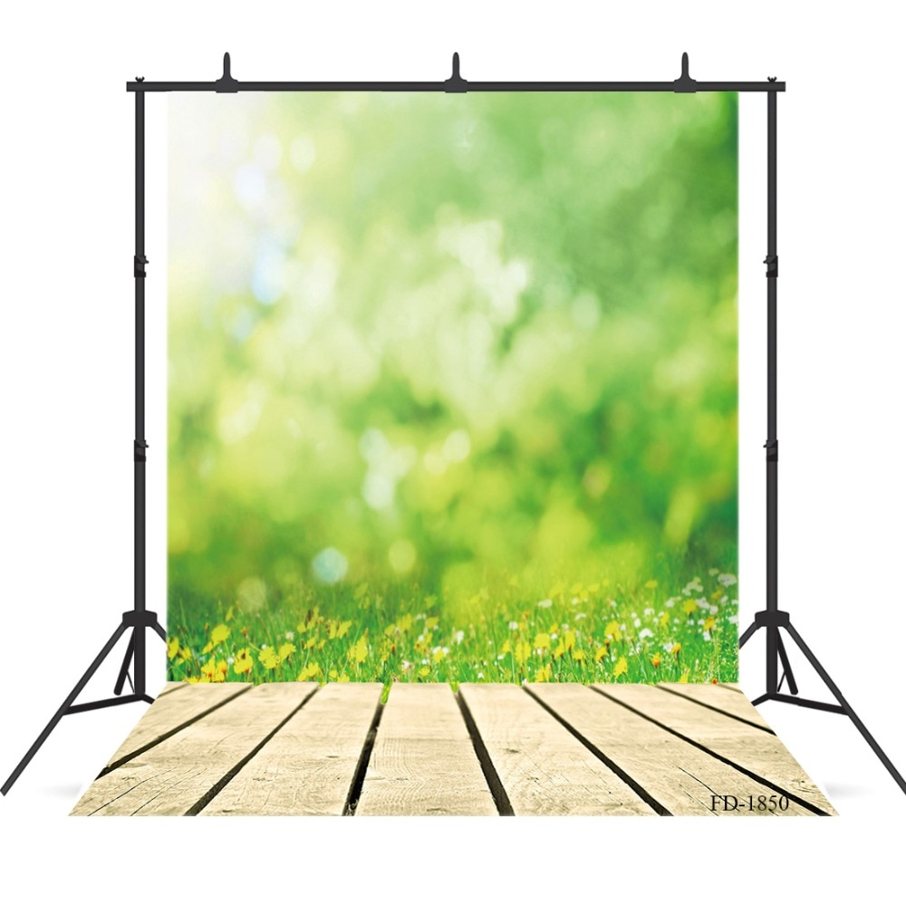 Bokeh, Fondo de fotografía con piso de madera y hierba verde para sesión de fotos, accesorios, retrato de niño, paño de vinilo, telón de fondo para sesión fotográfica