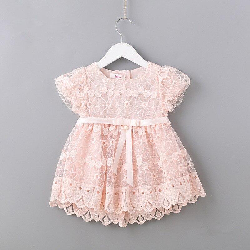 Recién Nacido flores bordado Puff manga niñas vestido bautizo cumpleaños fiesta Bebé Ropa niño niña rosa blanco 0-2T