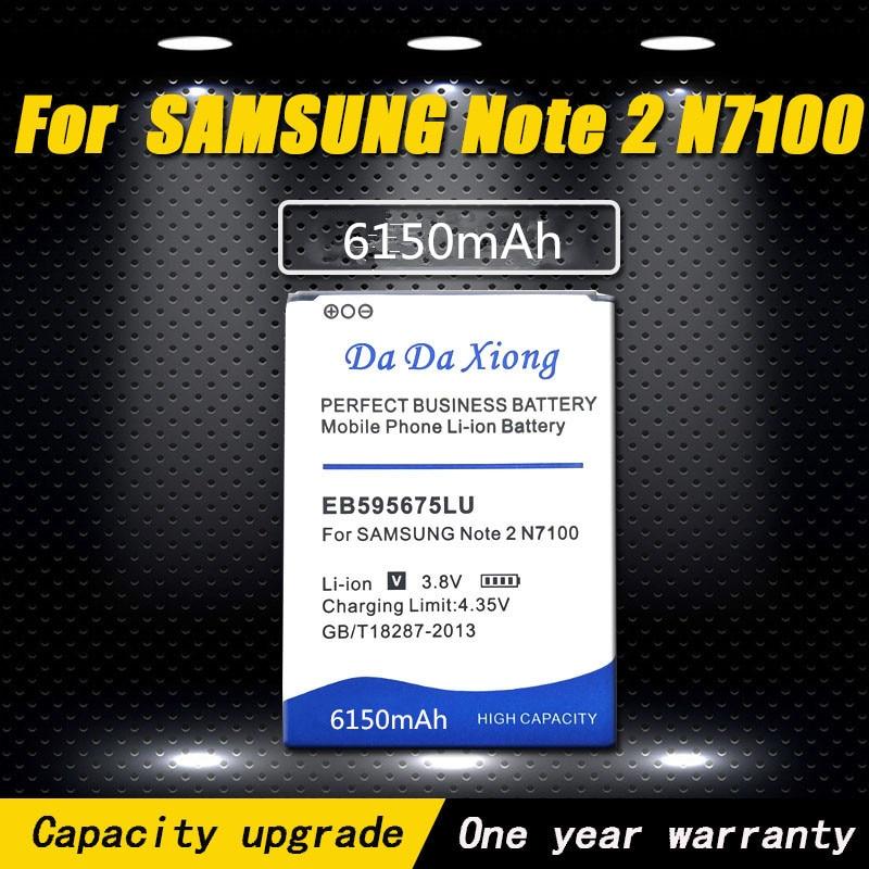 Batería de alta calidad 6150mAh EB595675LU para Samsung Galaxy Note 2 N7100 E250 LTE N7105 N7102 T889 L900 Verizon i605