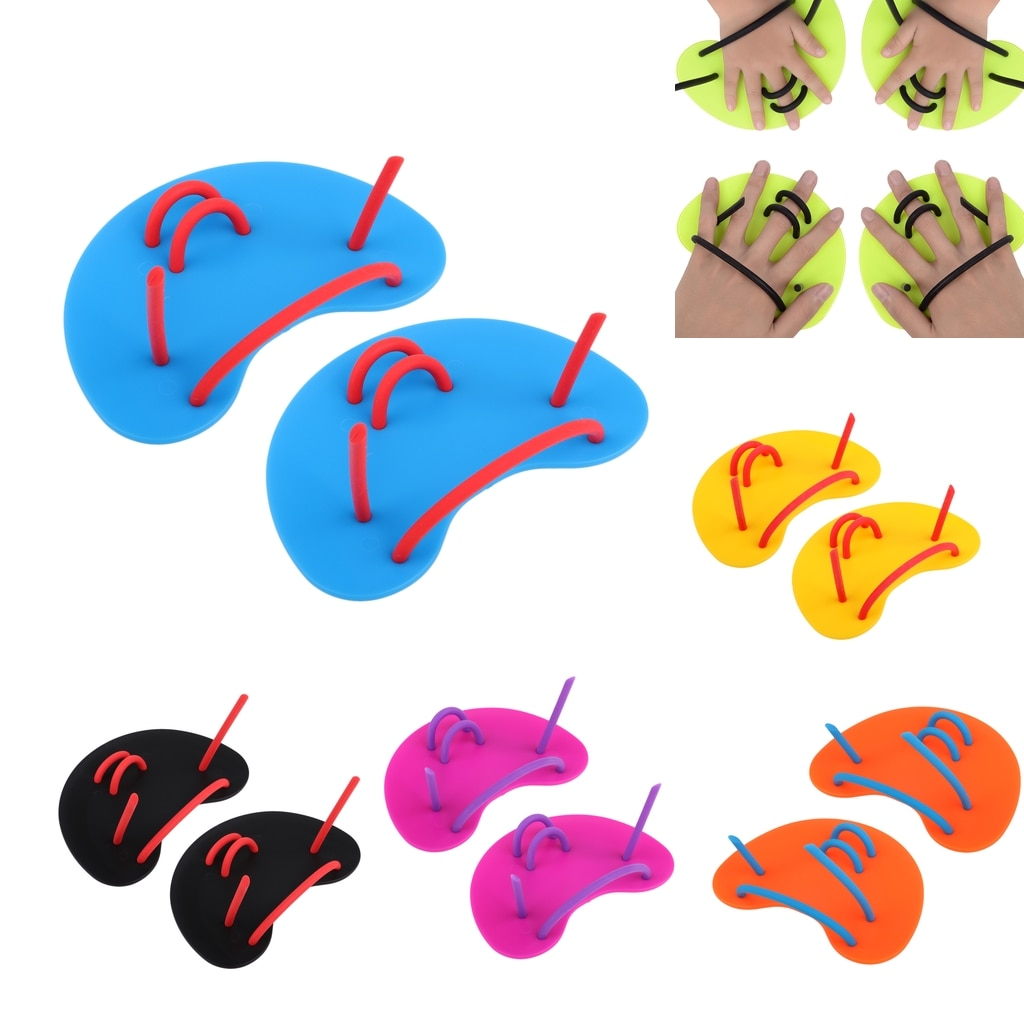 1 Pair Swim Hand Paddles Finger Fins Unisex Rubber Palm Wear Gloves for Swimming Diving Surfing Water Sports for Adults Kids adults unisex omouboi swimming security pfds black swim paddles hand gloves fins with over head inflatable snorkel rescue vest