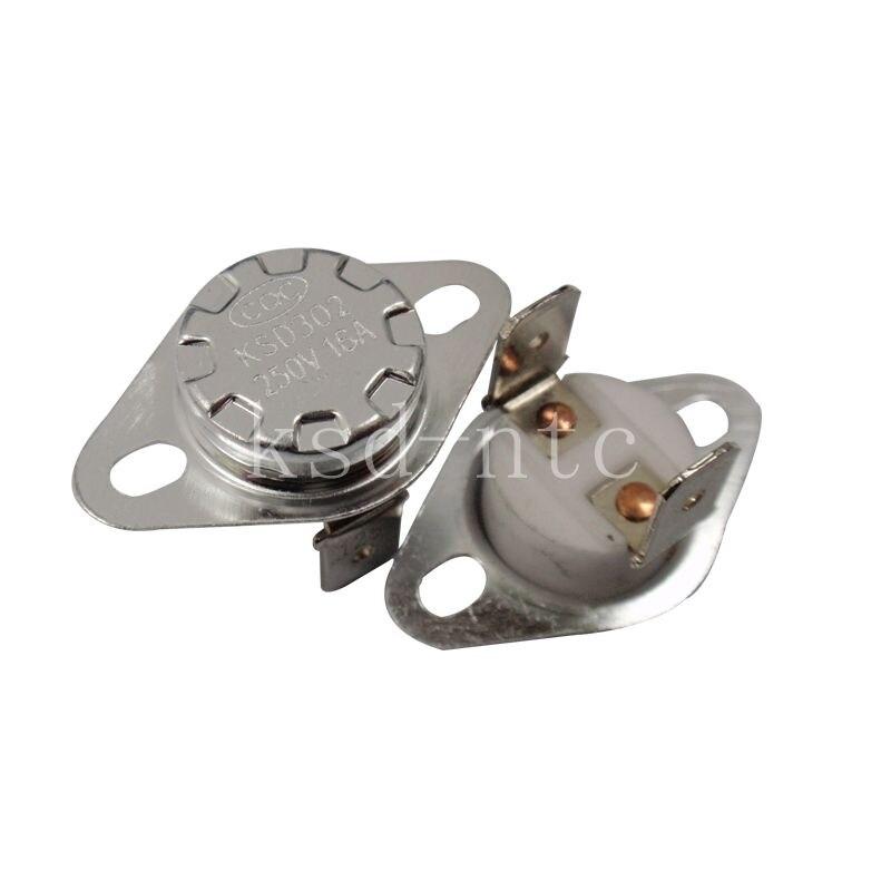 Биметаллический термостат KSD302/KSD301 40C-300C керамика 16A250V 40C 45C 50C 120C 130C 85C 90C 95C 180C 250C 300C градусов тепловой предохранитель