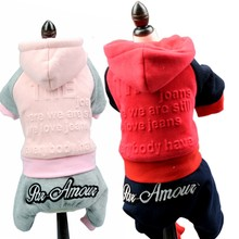 Roze/Rood Gedrukt Huisdier kleding herfst winter hond kleren teddy chihuahua Hond jumpsuit pet overalls Kleding voor Kleine huisdier