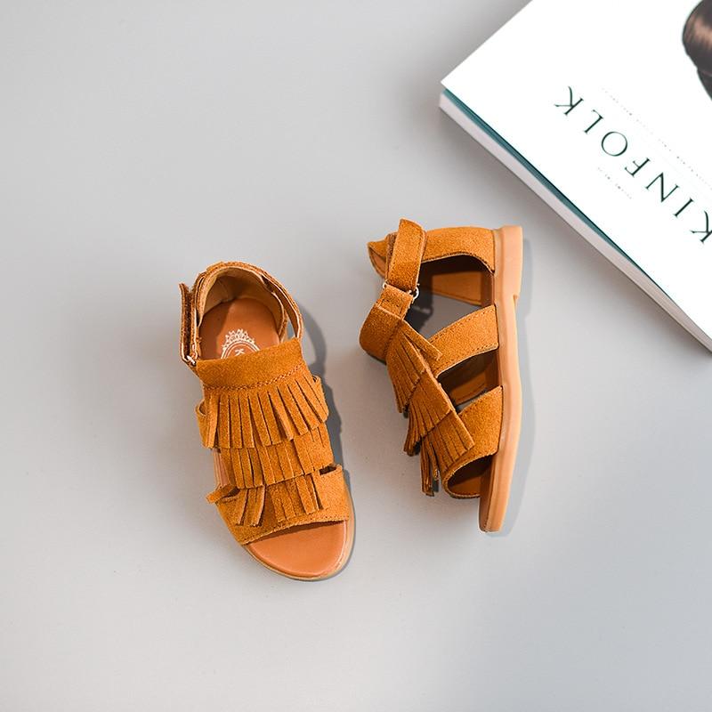 Children Shoes 2019 Summer Baby Girls Sandals Short Ankle Gladiator Sandals Girls Tassel Shoes Kids Heels Real Genuine Leather