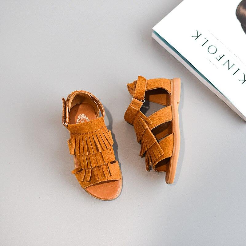 Zapatos para niños 2019, sandalias de verano para niñas, sandalias de gladiador cortas con tobillo, zapatos de borla para niñas, zapatos de tacón para niños, cuero genuino Real