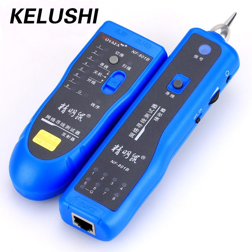 KELUSHI envío gratis red RJ11 RJ45 red LAN cable tracker localizador y probador de cable LAN Cable tester NF-801B