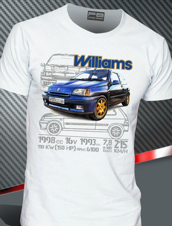 T-Shirt renoult Clio Williams 2.0 16V Maxi Rally Legend Montecarlo 2019 Hot Sale Men'Short Sleeve O-Neck Summer Print T Shirt