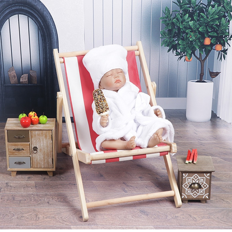 Newborn Beach Theme Photography Props Infant Photo Shoot Bathrobe Wood Chair for Tiny Baby Boy Girl fotografia Shoot Bed Props