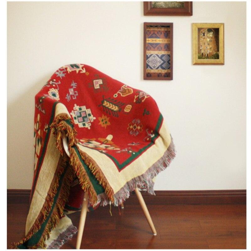 سجادة من الكتان القطني الخالص الرجعية ، بطانية رفيعة ، مصبوغة بالربطة ، غطاء سرير فني عرقي ، لغرفة المعيشة وغرفة النوم
