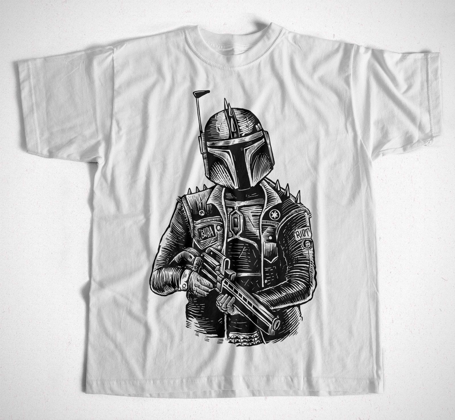 Camiseta Boba Punk S-3XL Kult Star Wars Darth Vader jedis Stormtrooper Boba Fett hombres adultos Camiseta de algodón de manga corta