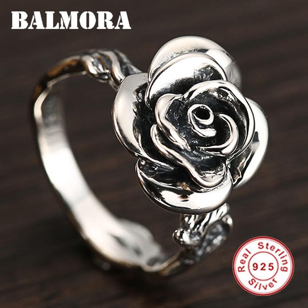 BALMORA 925 anillos de plata de ley con rosas para mujer, amante, regalo de compromiso, joyería de moda romántica, anillo ajustable SY21198