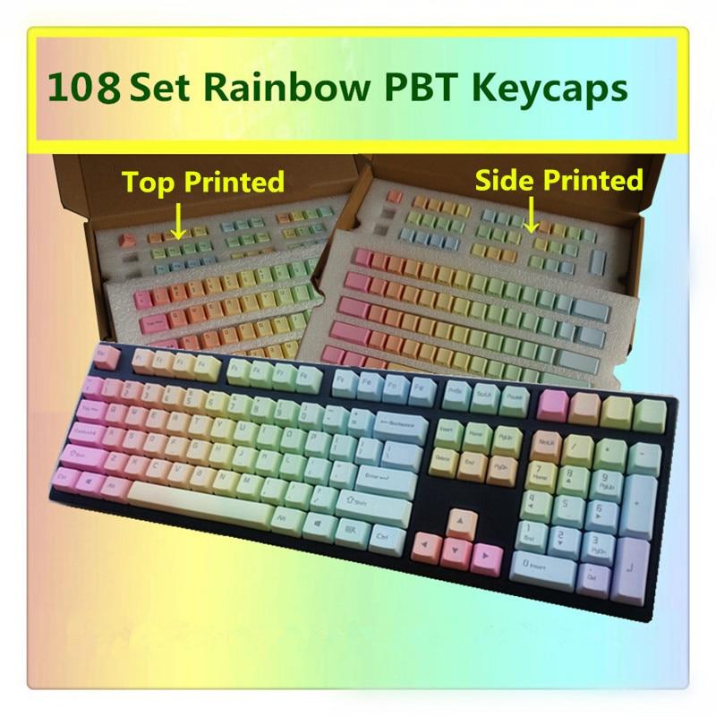 Радужные колпачки для ключей PBT Top/Side/спереди принт вишни MX колпачки для ключей MX переключатели Tenkeyless 87/104/108 клавиши механические клавиатуры