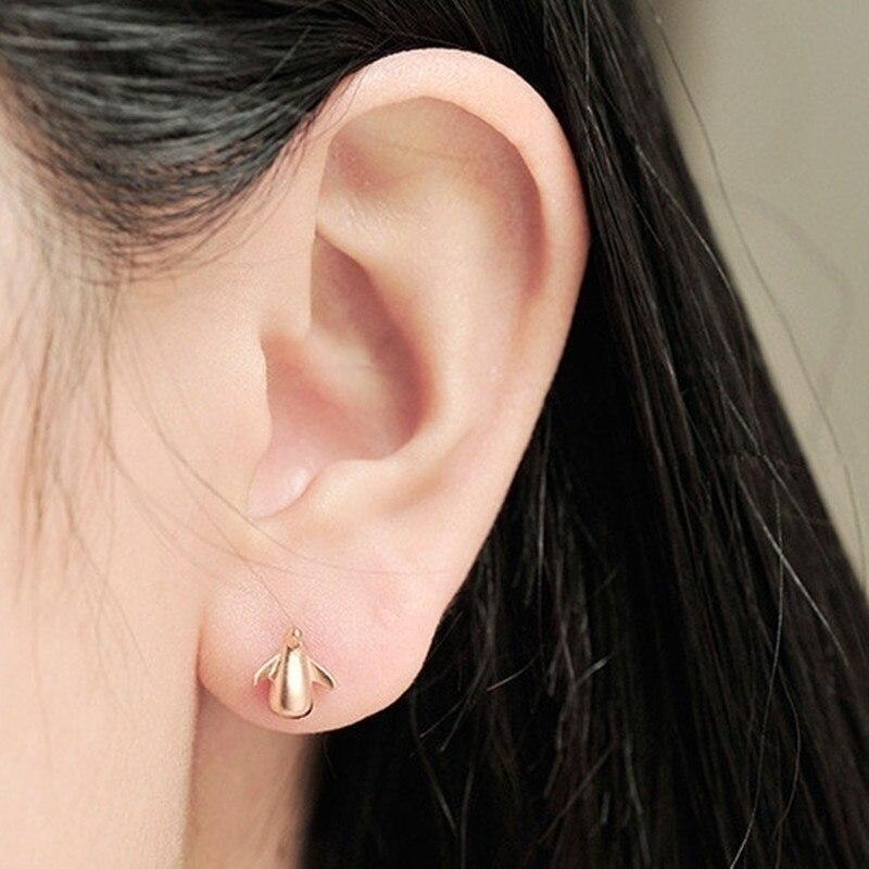 HEBEHERA Ornaments Fashionable Irregular Penguin Silver Color Lady's Earrings Women's Gold Color Silver Color Personal Earrings