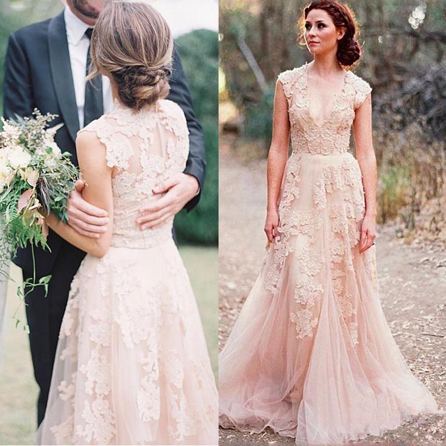 Boho Blush Pink Lace Wedding Dresses 2021 vestido de novia V Neck A Line Bridal Gowns Designer Country Style Wedding Dress