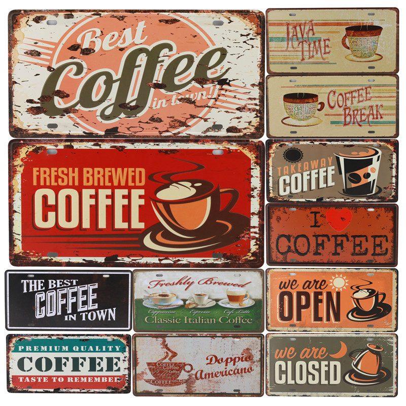 Café cartel de hojalata vintage Bar Pub Up Iron Garage Metal Plate Poster pintura pared decoración carteles pintura Retro pegatinas C15