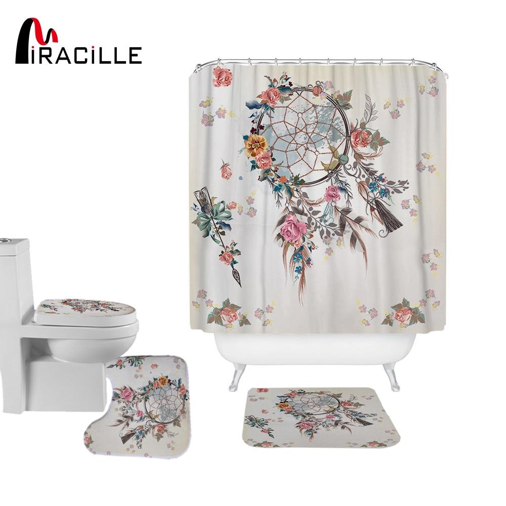 Miracille sueño Catcher moderna Cortina de ducha impermeable de poliéster de baño de flores cortinas antideslizantes alfombras de baño tapa conjuntos