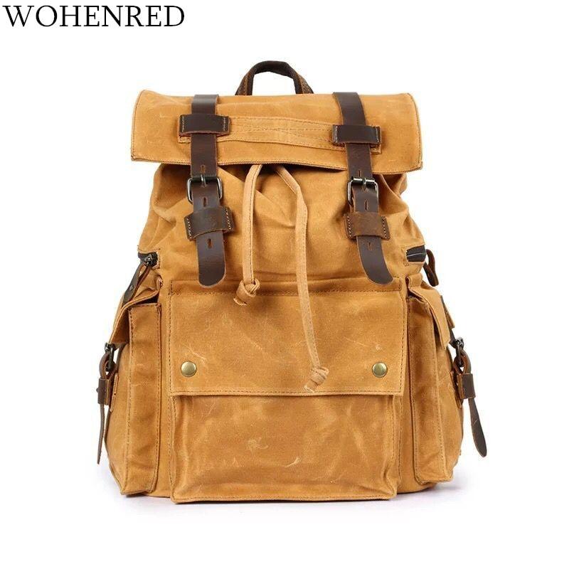 Marca WOHENRED, mochila de lona de cuero para hombres, bolsa para portátil, bolsas escolares Grandes Vintage, mochilas impermeables de viaje, mochila, mochila