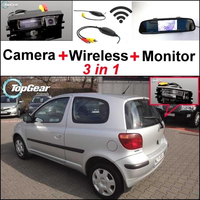 Cámara especial + receptor inalámbrico + Monitor de espejo 3 en 1 fácil sistema de estacionamiento marcha atrás para TOYOTA Vizi Echo Yaris XP10 Hatchback