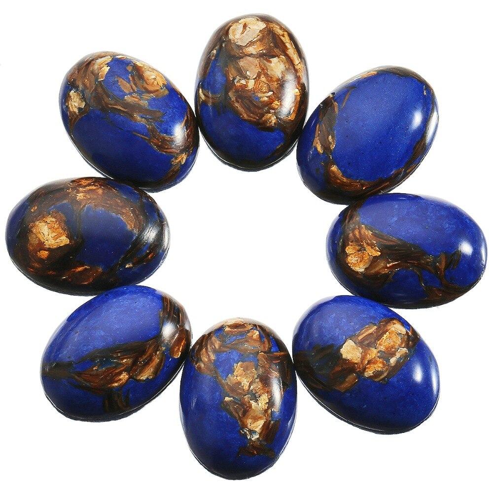 TUMBEELLUWA 1Lot (5Pc) Royal Blue Sea Sediment Jasper Oval Stone Cabochons Flatback Semi-precious CAB for Jewelry Making,18x25mm