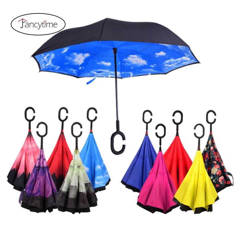 Fancytime odwrócony parasol przeciwdeszczowy dla kobiet składana podwójna warstwa dla mężczyzn samodzielnie stojące damskie parasole odwrócone wiatroszczelne parasole