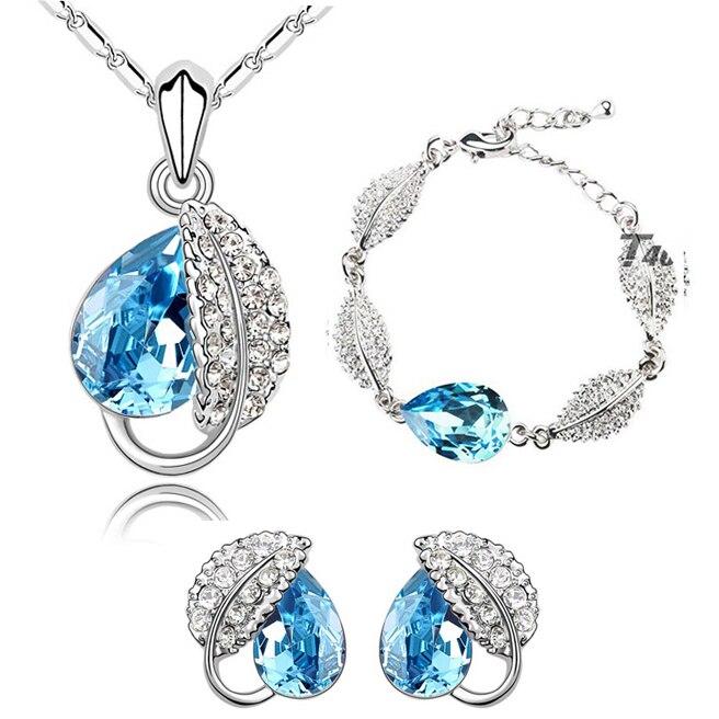 Coração de cristal folha folhas encantos pingente moda jóias conjunto colar brinco pulseira menina partylovers presente dropshipping