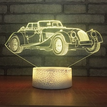 Retro Car LED Night Light 7 Color Change Desk Light Action Figures Boys Girls Birthday Toys