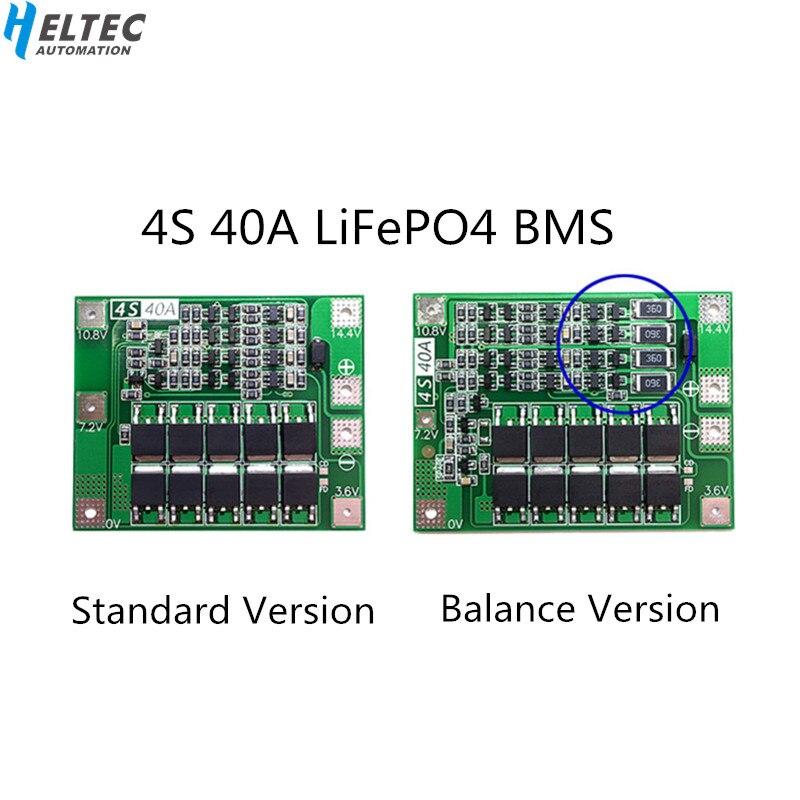 4S 40A 12,8 V 14,4 V 18650 LiFePO4 BMS/литиевая железная плата для защиты батареи с выравниванием start drill Standard/Balance