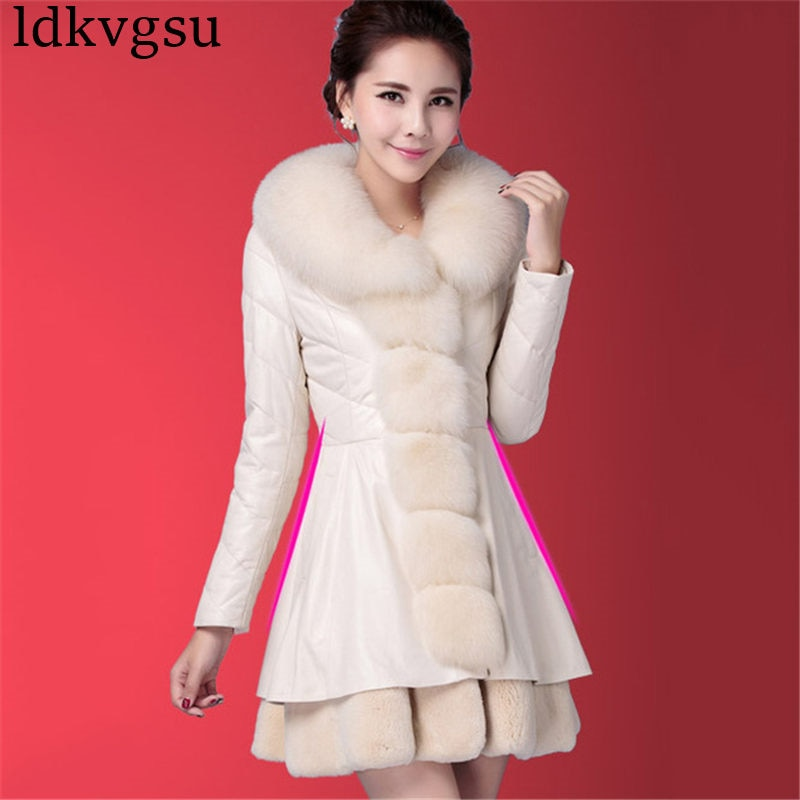 Abrigo de piel de zorro de imitación para Mujer, Chaqueta larga de...