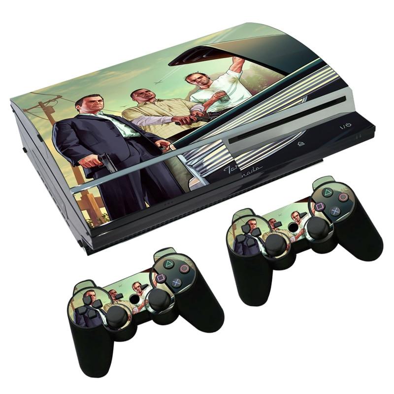 Pegatina de piel de vinilo para PS3 fat para consola PlayStation 3 y pegatinas de 2 piezas de control Skins GTA5 TN-P3-2151