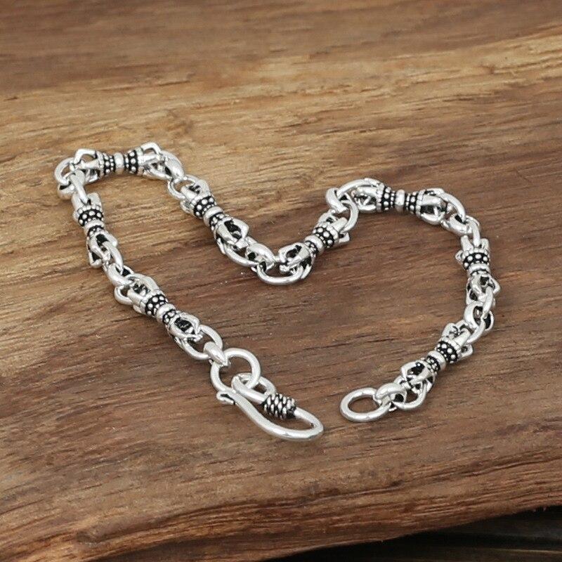 FNJ Punk Link Vajra Chain Bracelet 925 Silver Width 4mm 19cm Original Pure S925 Thai Silver Bracelets for Women Men Jewelry
