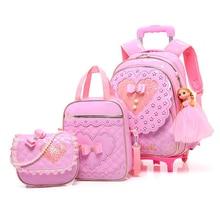 5 pcs 세트 어린이 3 휠 트롤리 학교 가방 소녀 공주 배낭 방수 pu 아이 정형 학교 가방 틴 에이저