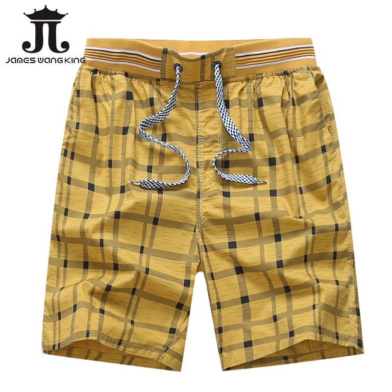 Шорты в клеточку мужские, классические эластичные шорты из 100% хлопка, 4 цвета, большие размеры, L-4XL, лето 2018