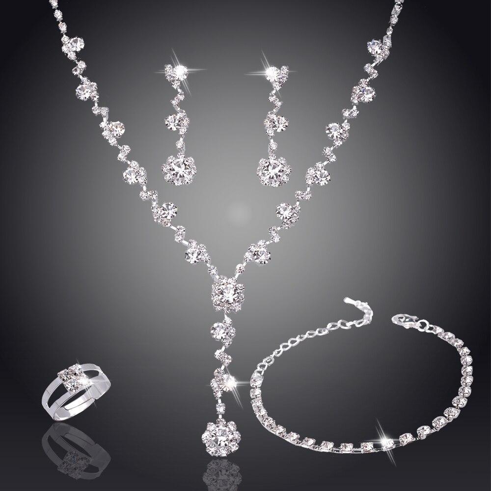 Серебристый оттенок, кристалл, теннис, Африканский ювелирный набор, серьги, свадебные ювелирные изделия, ожерелье, набор украшений для подружек невесты для женщин, ожерелье