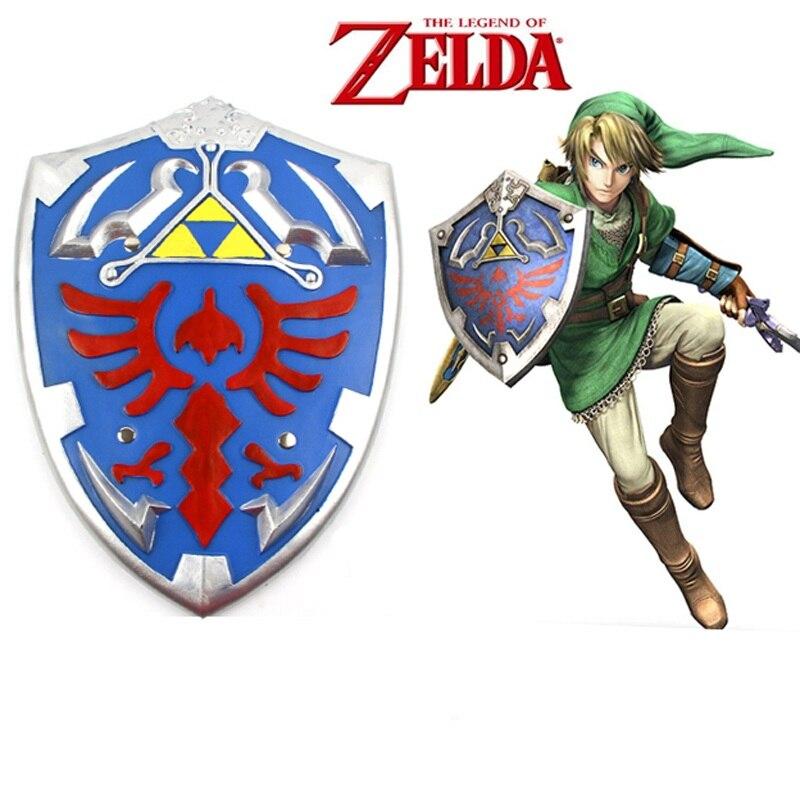 Juego de Link de animación Unisex de alta Q, armas, Escudo de armadura, Escudo de la leyenda de Zelda Link PU, accesorios y armas para Cosplay