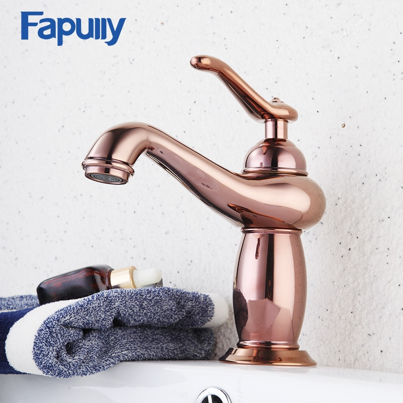Fapully Bathroom Basin Faucet Rose Gold Single Handle Aladdin Lamp Shape Single Hole Sink Mixer Tap