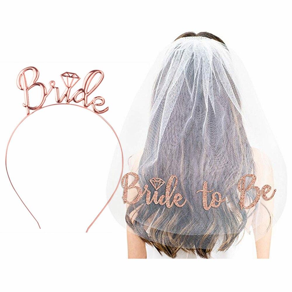 Accesorios para el cabello de boda Rosa oro Novia a ser Metal diadema despedida de soltera decoración fiesta Boda nupcial ducha chicas regalos, Q