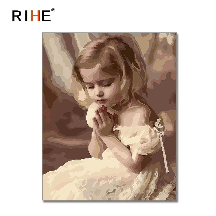 RIHE Pray Girl Diy pintura por número Cuadros de pintura al óleo decoración de acrílico en lienzo 2018 Cuadros de pared para sala de estar