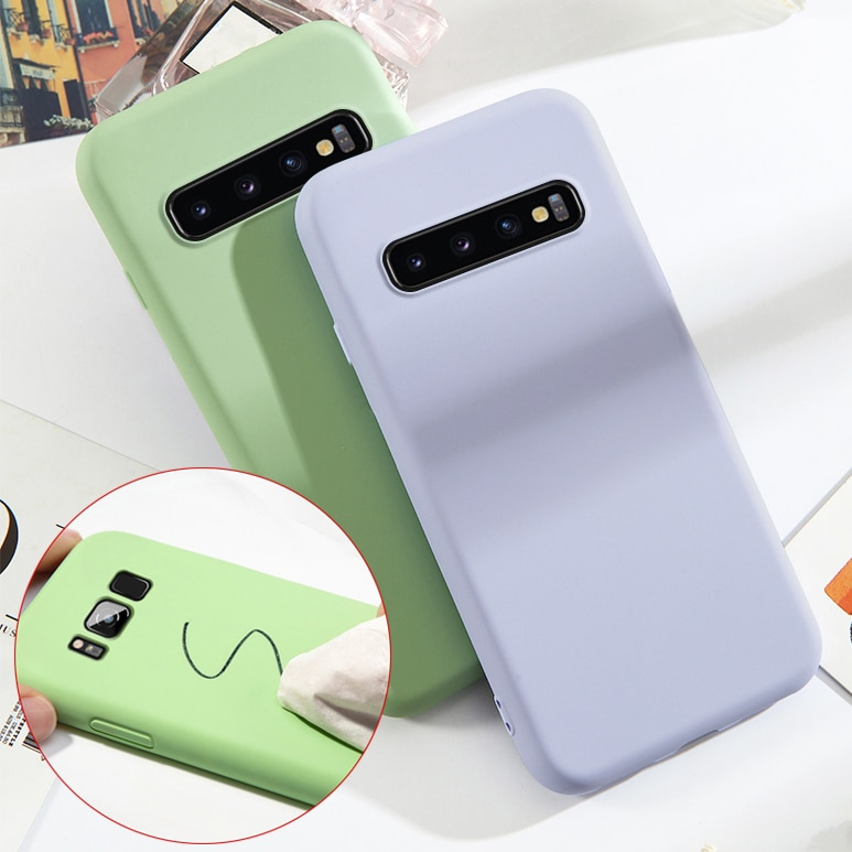 Líquido de caucho de silicona funda para Samsung Galaxy S10E S10 S8 S9 más S7 borde A7 J4 J6 2018 M10 M20 M30 A10 A20 A30 A50 A70 casos