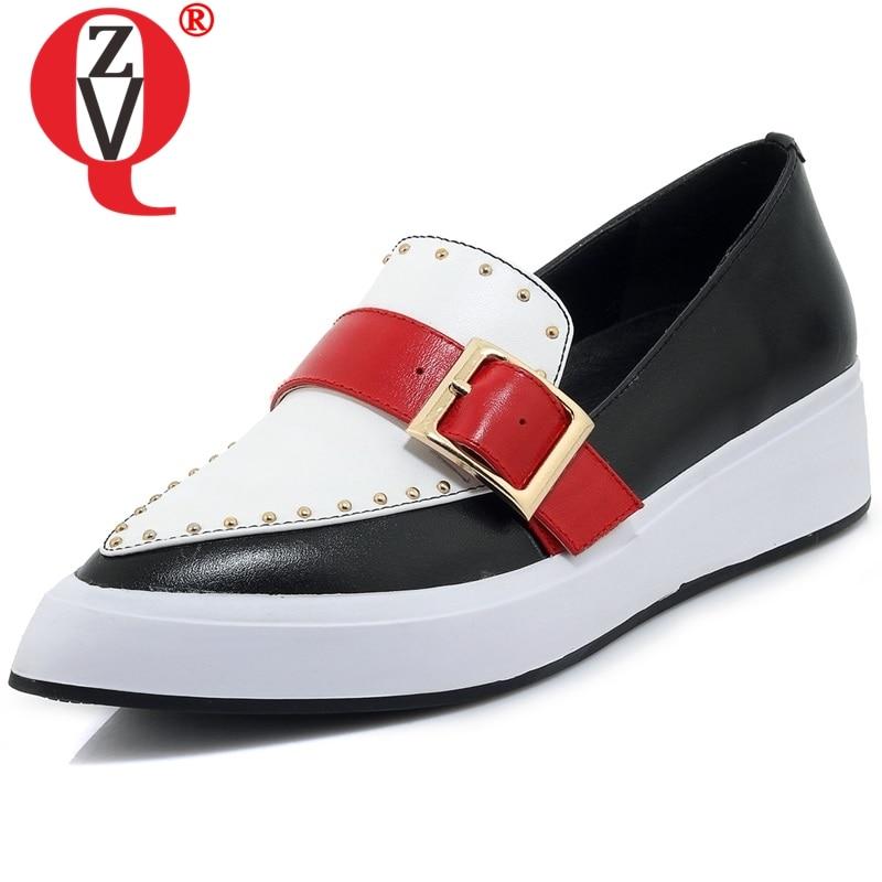 ZVQ-حذاء نسائي بنعل سميك من الجلد الطبيعي ، حذاء ربيعي غير رسمي مع مشبك ، لون مختلط