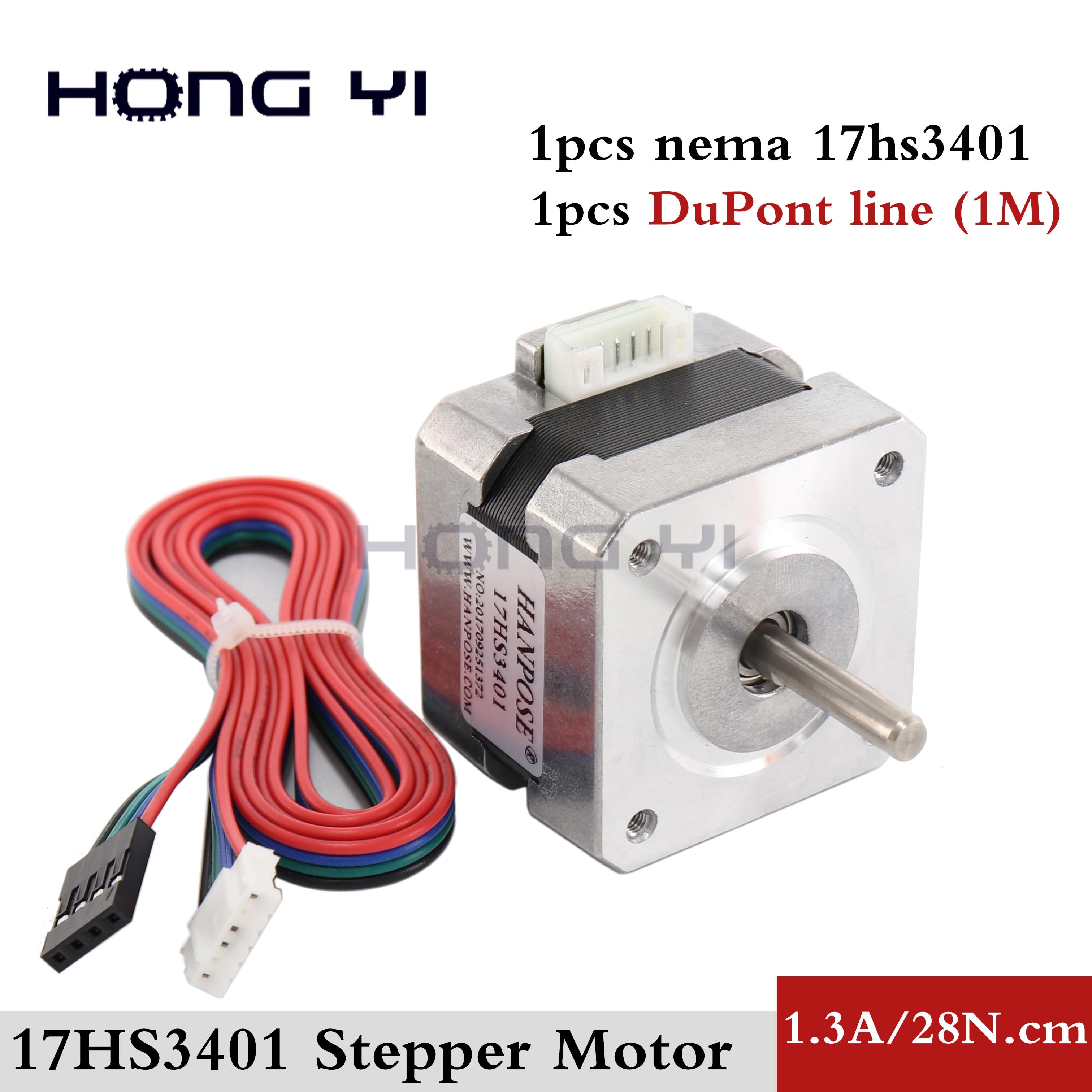 Envío Gratis para 3D impresora 1 Uds 17HS3401-D 4-plomo Nema17 Motor paso a paso 42 motor 42BYGH 1.3A CE ROSH ISO CNC con línea DuPont
