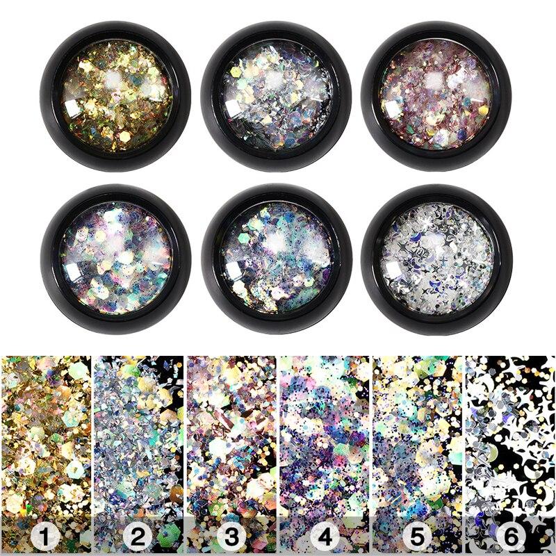 Arte de uñas lentejuelas Super copos de brillantina de Arte de uñas decoraciones mezcla brillo Hexagonal estrellas o puede usar la magia de maquillaje de ojos de lentejuelas