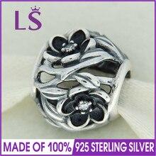 LS High Quality 100% Real 925 Silver Black Enamel Mystic Floral CZ Charm Beads Fit Original Bracelets Pulseira Encantos. Retail