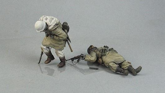 Figuras de soldados de panzergranadiers, modelo a escala 1/35, modelo de resina histórico