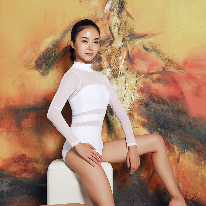 VSEMLEING Ballet Suit Women One Piece Suit Conjoined Dance Dress Chest Pad Mesh Stitching Triangle Air Jumpsuit  Fitness Set
