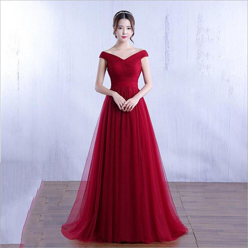 Tallas grandes vestidos De noche muy hombro Rosa rojo vino colores Simple Formal vestido De noche para fiesta vestido De novia fiesta 2019